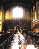 The dining hall in Christchurch College